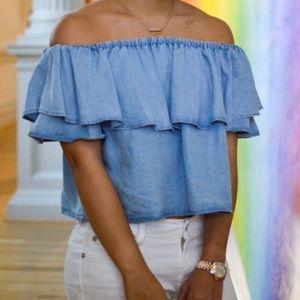 NWOT Zara Ruffle Chambray Crop Top